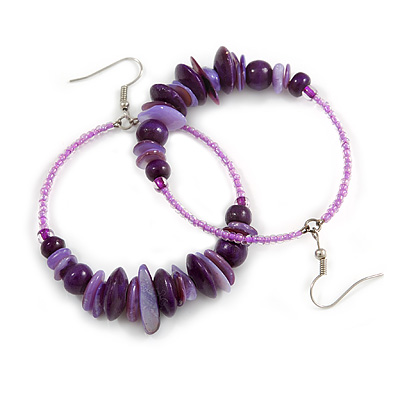 Large Purple Glass, Shell, Wood Bead Hoop Earrings In Silver Tone - 75mm Long