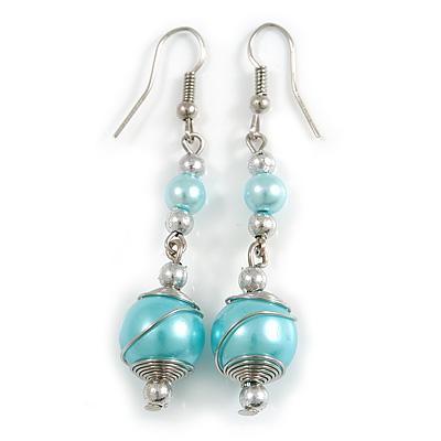 Light Blue Glass Bead with Wire Drop Earrings In Silver Tone - 6cm Long