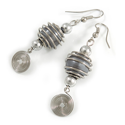 Grey Glass Bead with Wire Element Drop Earrings In Silver Tone - 6cm Long