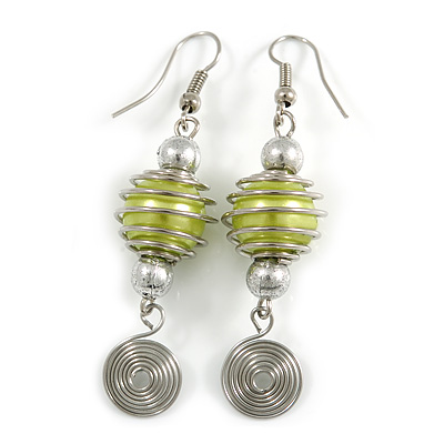 Canary Green Glass Bead with Wire Element Drop Earrings In Silver Tone - 6cm Long
