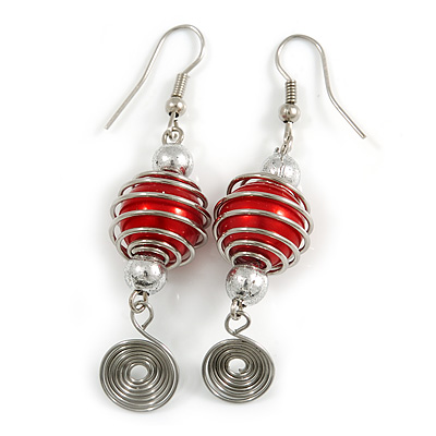 Red Glass Bead with Wire Element Drop Earrings In Silver Tone - 6cm Long - main view