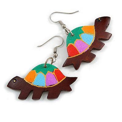 Funky Multicoloured Wood Turtle Drop Earrings - 50mm Long