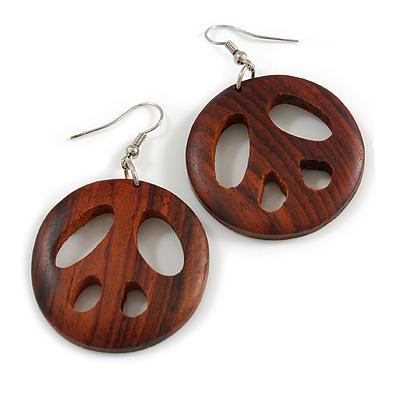 Brown Wood Round Peace Drop Earrings - 60mm Long