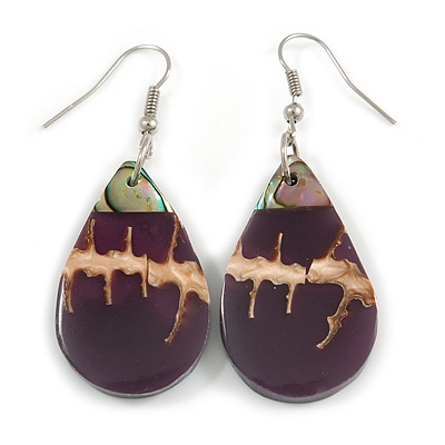 Teardrop Purple Shell Drop Earrings - 55mm Long