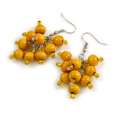Yellow Wooden Bead Cluster Drop Earrings in Silver Tone - 55mm Long