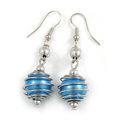 Silver Tone Blue Faux Pearl Drop Earrings - 5cm Long