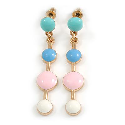 Multi Pastel Enamel Dot Drop Earrings In Gold Tone - 45mm Long