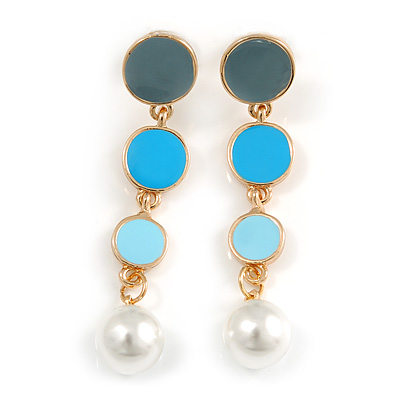 Blue/ Grey/ Aqua Enamel Graduated Disk Drop Earrings In Gold Tone - 55mm Long