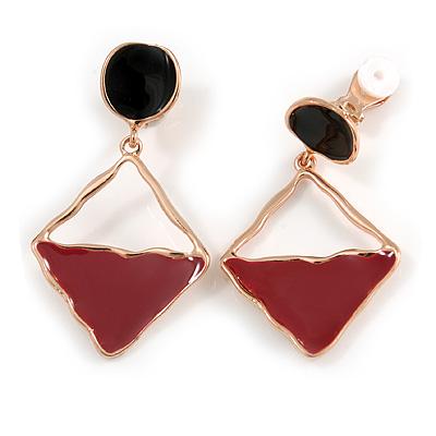 Burgundy/ Black Enamel Geometric Clip-On Earrings In Rose Gold Tone - 45mm Long