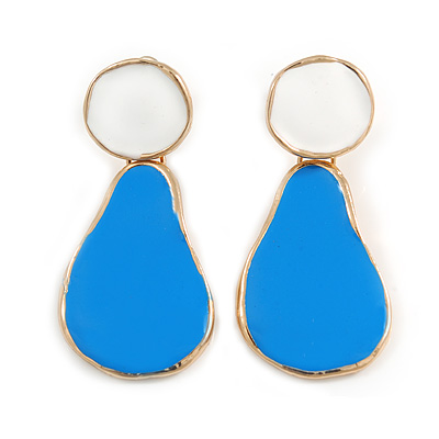 Blue/ White Enamel Teardrop Earrings In Gold Tone Metal - 40mm Long