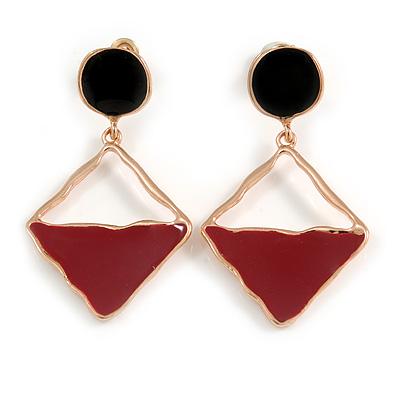 Burgundy/ Black Enamel Geometric Drop Earrings In Rose Gold Tone - 45mm Long