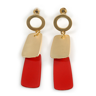 Brushed Gold, Red Square Dangle Drop Earrings - 50mm Long