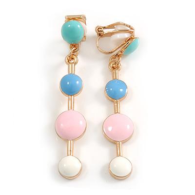 Multi Pastel Enamel Dot Clip-On Earrings In Gold Tone - 45mm Long