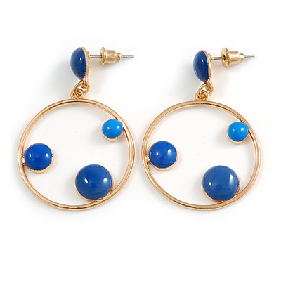 Blue Enamel Dot Circle/ Hoop Drop Earrings In Gold Tone - 40mm Long