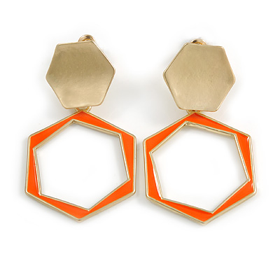 Orange Enamel Geometric Drop Earrings In Bright Gold Tone Metal - 50mm Long