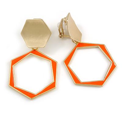 Orange Enamel Geometric Clip-On Earrings In Bright Gold Tone Metal - 50mm Long