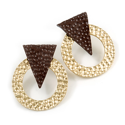 Statement Hammered Round Geometric Drop Earrings In Gold/ Dark Brown Tone - 35mm Long
