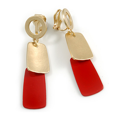 Brushed Gold, Red Square Dangle Clip-On Earrings - 50mm Long