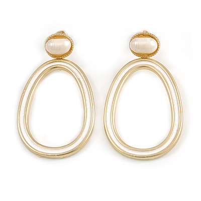 Gold Tone Oval Drop Earrings with White Enamel and Freshwater Pearl - 55mm Long