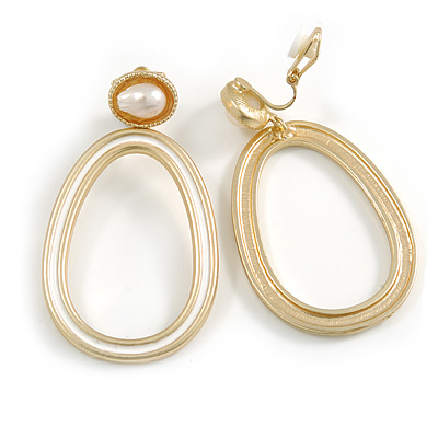 Gold Tone Oval Clip-On Earrings with White Enamel and Freshwater Pearl - 55mm Long