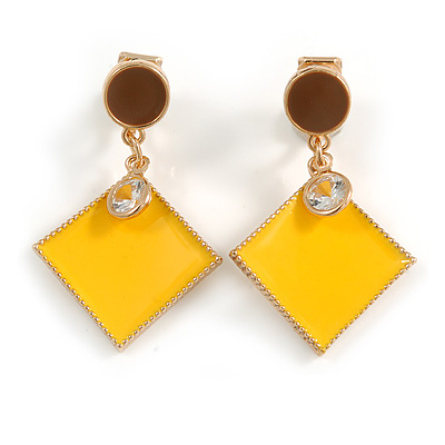 Brown/ Yellow Enamel Square Clip-On Earrings In Gold Tone - 40mm Long