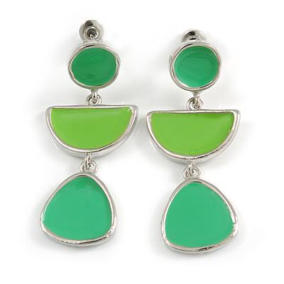 Grass Green/ Lime Green Enamel Geometric Drop Earrings In Silver Tone - 40mm Long