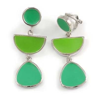 Grass Green/ Lime Green Enamel Geometric Clip-On Earrings In Silver Tone - 40mm Long