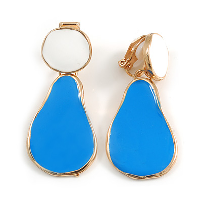 Blue/ White Enamel Teardrop Clip-On Earrings In Gold Tone Metal - 40mm Long