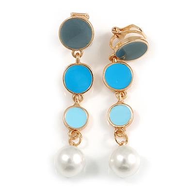 Blue/ Grey/ Aqua Enamel Graduated Disk Drop Clip-On Earrings In Gold Tone - 55mm Long