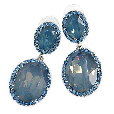 Milky Blue/ Sky Blue Oval Glass, Crystal Drop Earrings In Silver Tone - 55mm Long