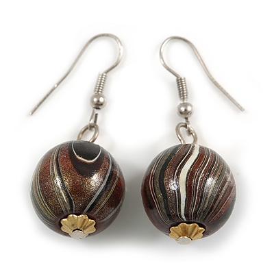 Brown/ Black/ White Colour Fusion Wood Bead Drop Earrings with Silver Tone Closure - 40mm Long - main view