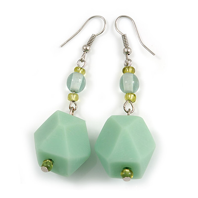 Long Pastel Green/ Mint Green Faceted Acrylic/ Lime Green Glass Bead Drop Earrings with Silver Tone Closure - 60mm Long