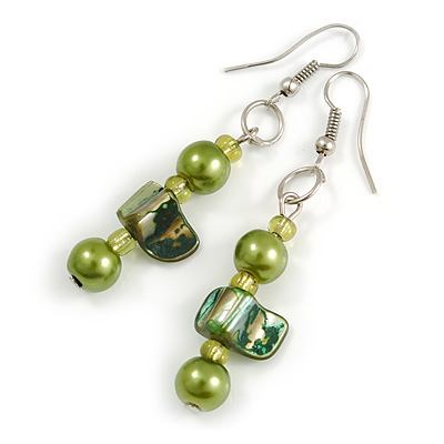 Lime Green/ Green Glass and Shell Bead Drop Earrings with Silver Tone Closure - 6cm Long
