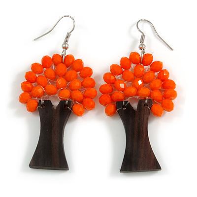 Orange Glass Bead Brown Wood Tree Drop Earrings - 70mm Long - main view