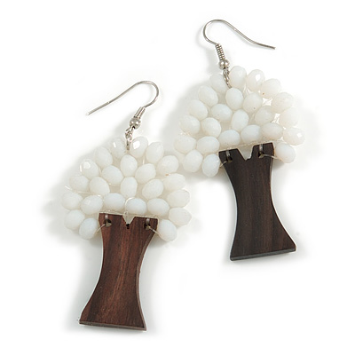 White Glass Bead Brown Wood Tree Drop Earrings - 70mm Long - main view