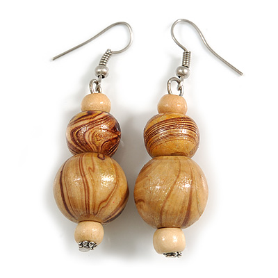 Natural/ Brown Colour Fusion Wood Bead Drop Earrings with Silver Tone Closure - 55mm Long