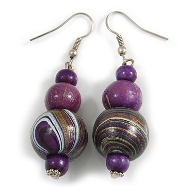 Purple/ Gold/ White Colour Fusion Wood Bead Drop Earrings with Silver Tone Closure - 55mm Long