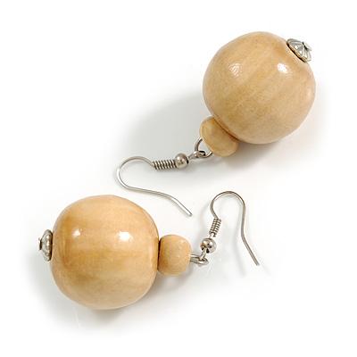 Natural Wood Bead Drop Earrings - 50mm Long
