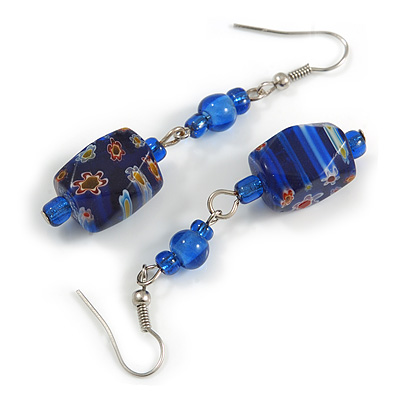 Blue Floral Faceted Resin/ Glass Bead Drop Earrings with Silver Tone Closure - 60mm Long