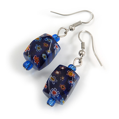 Blue Floral Faceted Resin/ Glass Bead Drop Earrings with Silver Tone Closure - 40mm Long
