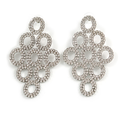 Statement/ Bridal/ Wedding Clear Crystal Chandelier Long Earrings In Silver Tone - 70mm Long