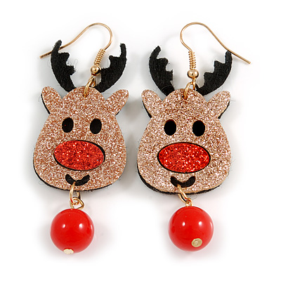 Christmas Sequin Felt/ Fabric Reindeer Drop Earrings In Gold Tone - 65mm Long