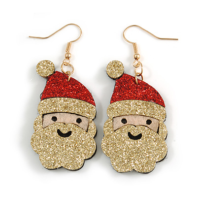 Christmas Sequin Felt/ Fabric Santa Claus Red/ Gold Drop Earrings In Gold Tone - 60mm Tall
