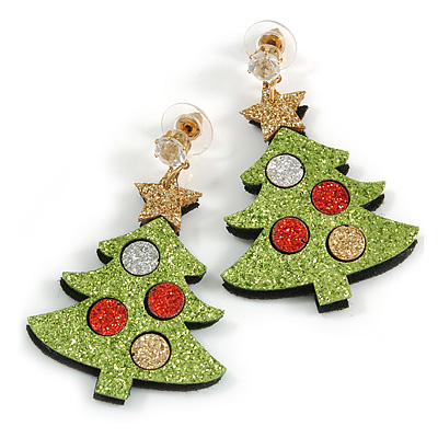 Christmas Sequin Felt/ Fabric Christmas Tree Drop Earrings In Gold Tone - 50mm Long