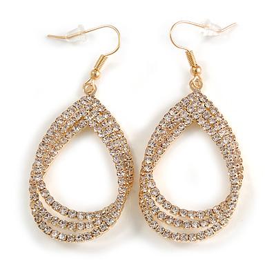 Clear Crystal Triple Teardrop Interlinked Design Earrings In Gold Tone - 60mm Drop