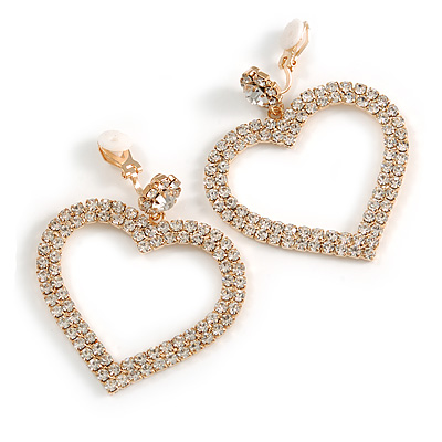 Large Clear Crystal Heart Drop Clip On Earrings In Gold Tone Metal - 55mm Tall