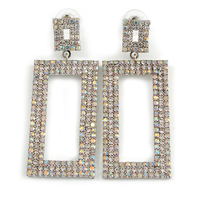 Statement AB Crystal Square Drop Earrings In Silver Tone Metal - 65mm Long