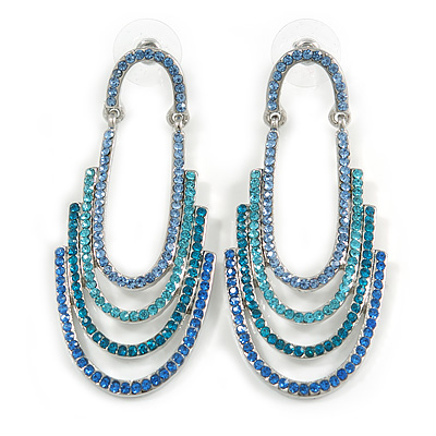 Blue/ Teal/ Azure Crystal Cascade Drop Earrings In Rhodium Plated Metal - 60mm Long
