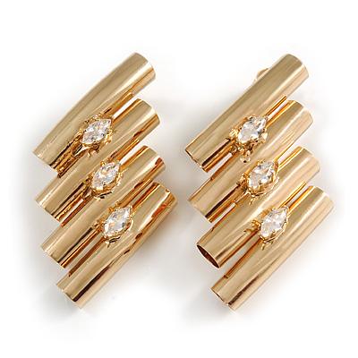 Unique Gold Tone Clear Crystal Tunnel Stud Earrings - 45mm Long