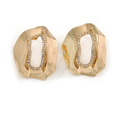 Contemporary Irregular 'O' Shape Clear Crystal Drop Earrings In Gold Tone - 38mm Tall